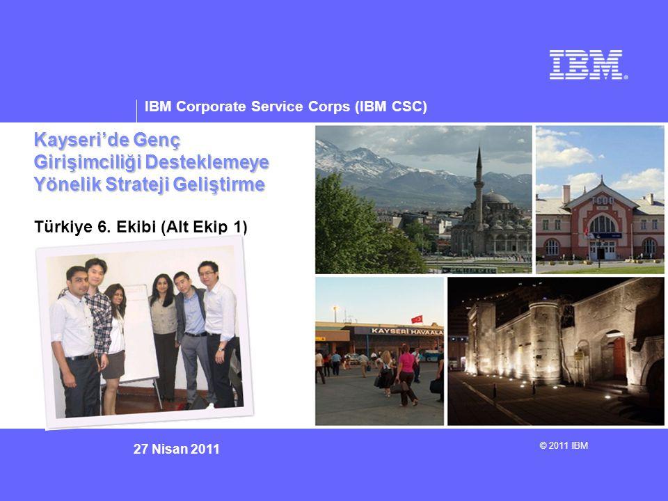 © 2011 IBM Corporation IBM Corporate Service Corps : Turkey Team 6 Üniversitelerde girişimcilik eğitiminin güçlendirilmesi, teşvik edilmesi ve geliştirilmesi Eğitimci Becerilerinin Geliştirilmesi ve Güçlendirilmesi Profesyonel, Teknik ve Mesleki Gelişme İmkanlarının Sunulması Hayat Becerileri İş Becerileri Mesleki Beceriler Teknik Beceriler Lisan Beecerileri Sektörle iletişimin özendirilmesi Sektörel çalışmanın teşvik edilmesi Çalıştaylar / Uluslararası Eğilimlerle ilgili Eğitim Çıraklık / Akıl Hocalığı programları Teknik ve Mesleki Çalıştaylar Lisan Eğitimi Üniversite Müfredatlarına Girişimcilik Eğitiminin Dahil Edilmesi D GENÇ GİRİŞİMCİLİĞE NASIL FIRSAT SAĞLANIR