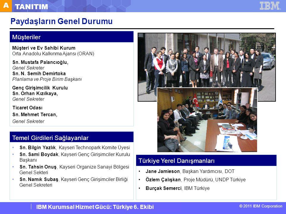 IBM Corporate Service Corps : Turkey Team 6 © 2011 IBM Corporation IBM Kurumsal Hizmet Gücü: Türkiye 6. Ekibi Paydaşların Genel Durumu Müşteriler Müşt