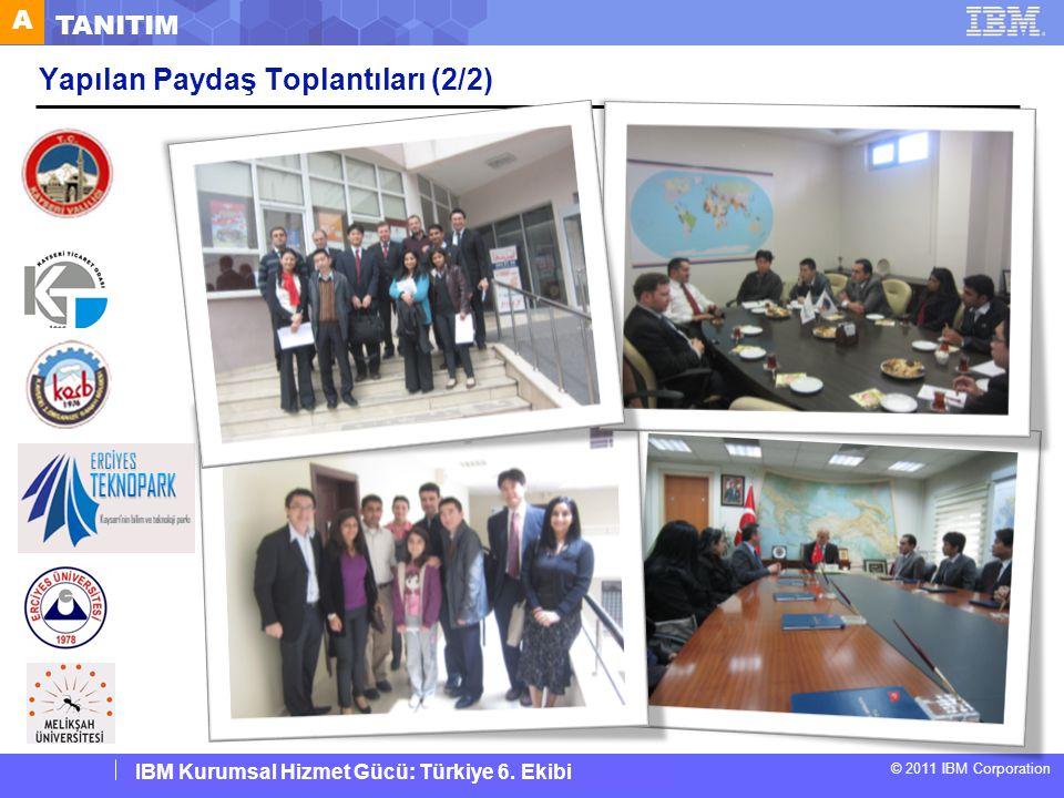 IBM Corporate Service Corps : Turkey Team 6 © 2011 IBM Corporation IBM Kurumsal Hizmet Gücü: Türkiye 6. Ekibi A TANITIM Yapılan Paydaş Toplantıları (2
