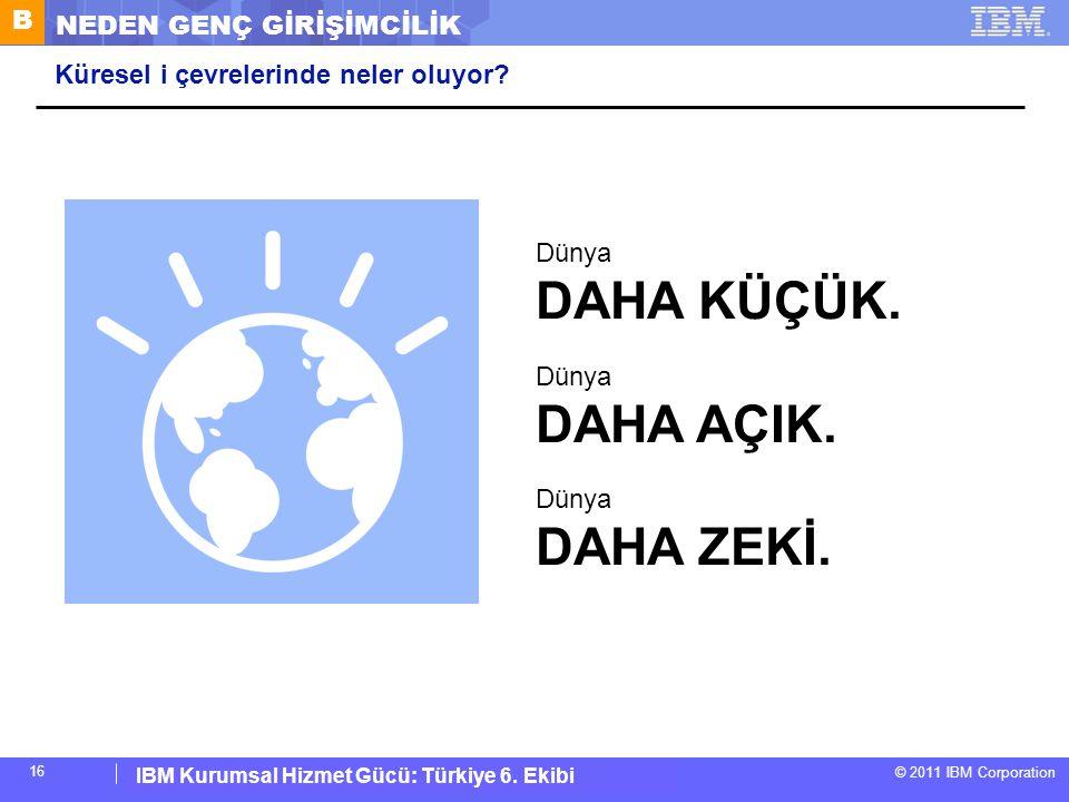 IBM Corporate Service Corps : Turkey Team 6 © 2011 IBM Corporation IBM Kurumsal Hizmet Gücü: Türkiye 6. Ekibi 16 Küresel i çevrelerinde neler oluyor?