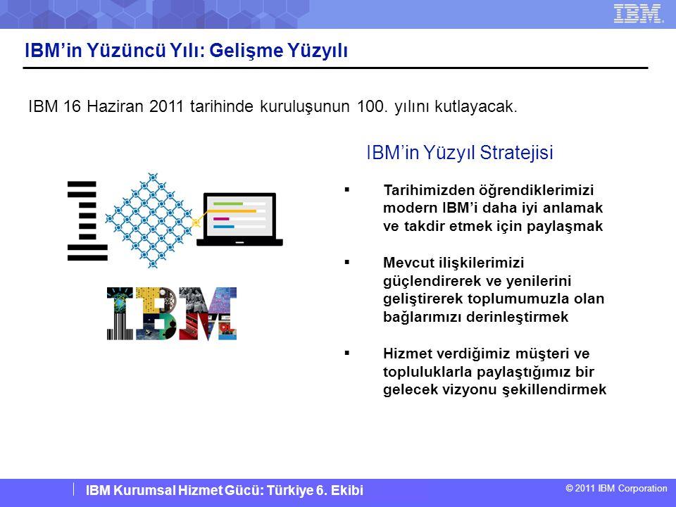 IBM Corporate Service Corps : Turkey Team 6 © 2011 IBM Corporation IBM Kurumsal Hizmet Gücü: Türkiye 6. Ekibi IBM'in Yüzüncü Yılı: Gelişme Yüzyılı IBM