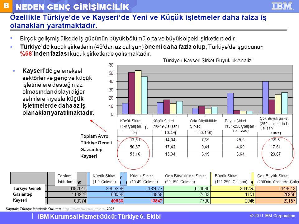 IBM Corporate Service Corps : Turkey Team 6 © 2011 IBM Corporation IBM Kurumsal Hizmet Gücü: Türkiye 6. Ekibi Özellikle Türkiye'de ve Kayseri'de Yeni