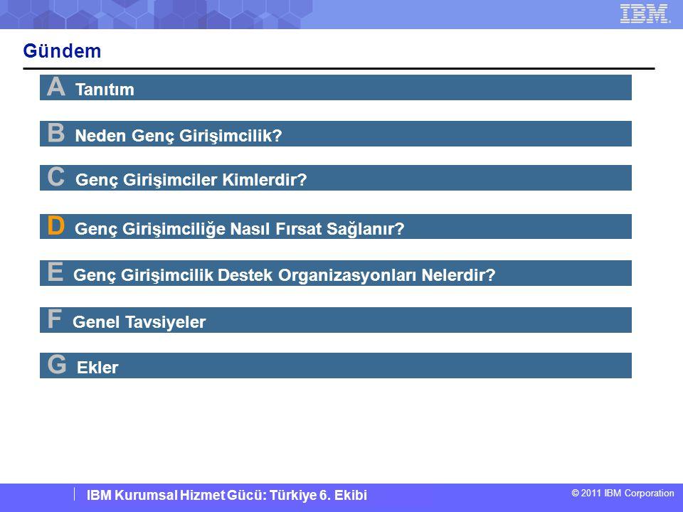 IBM Corporate Service Corps : Turkey Team 6 © 2011 IBM Corporation IBM Kurumsal Hizmet Gücü: Türkiye 6. Ekibi Gündem A Tanıtım B Neden Genç Girişimcil