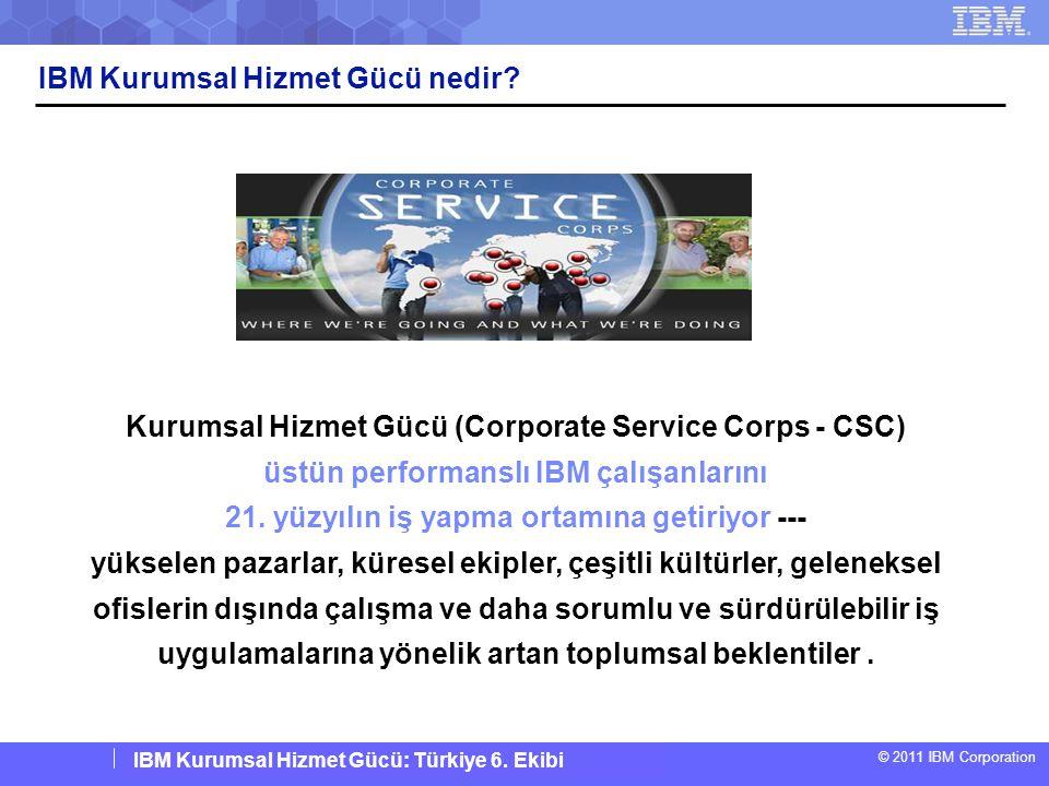 IBM Corporate Service Corps : Turkey Team 6 © 2011 IBM Corporation IBM Kurumsal Hizmet Gücü: Türkiye 6. Ekibi IBM Kurumsal Hizmet Gücü nedir? Kurumsal