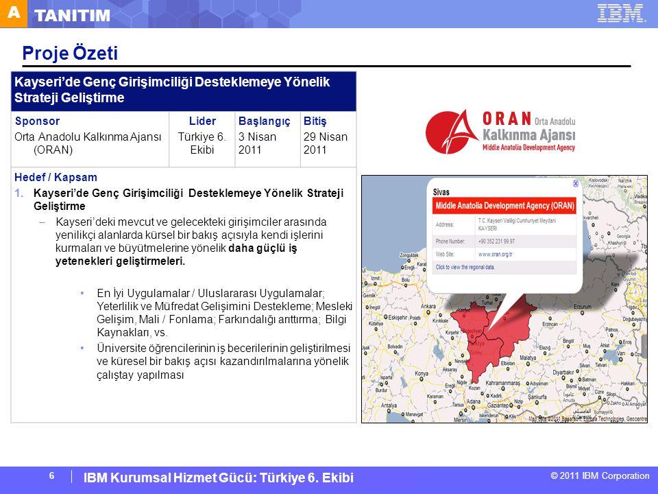 IBM Corporate Service Corps : Turkey Team 6 © 2011 IBM Corporation IBM Kurumsal Hizmet Gücü: Türkiye 6. Ekibi 6 Proje Özeti Kayseri'de Genç Girişimcil