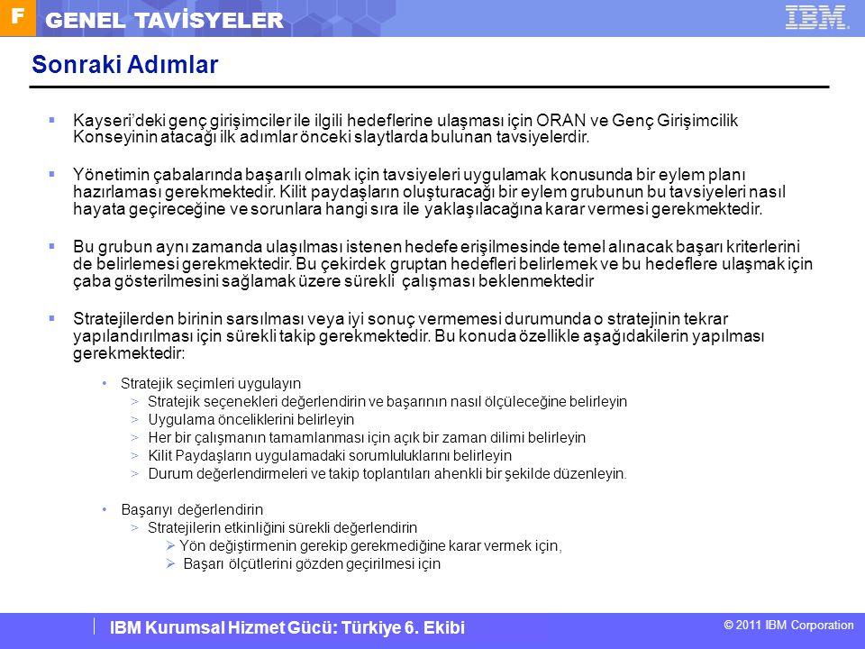 IBM Corporate Service Corps : Turkey Team 6 © 2011 IBM Corporation IBM Kurumsal Hizmet Gücü: Türkiye 6. Ekibi F GENEL TAVİSYELER Sonraki Adımlar  Kay