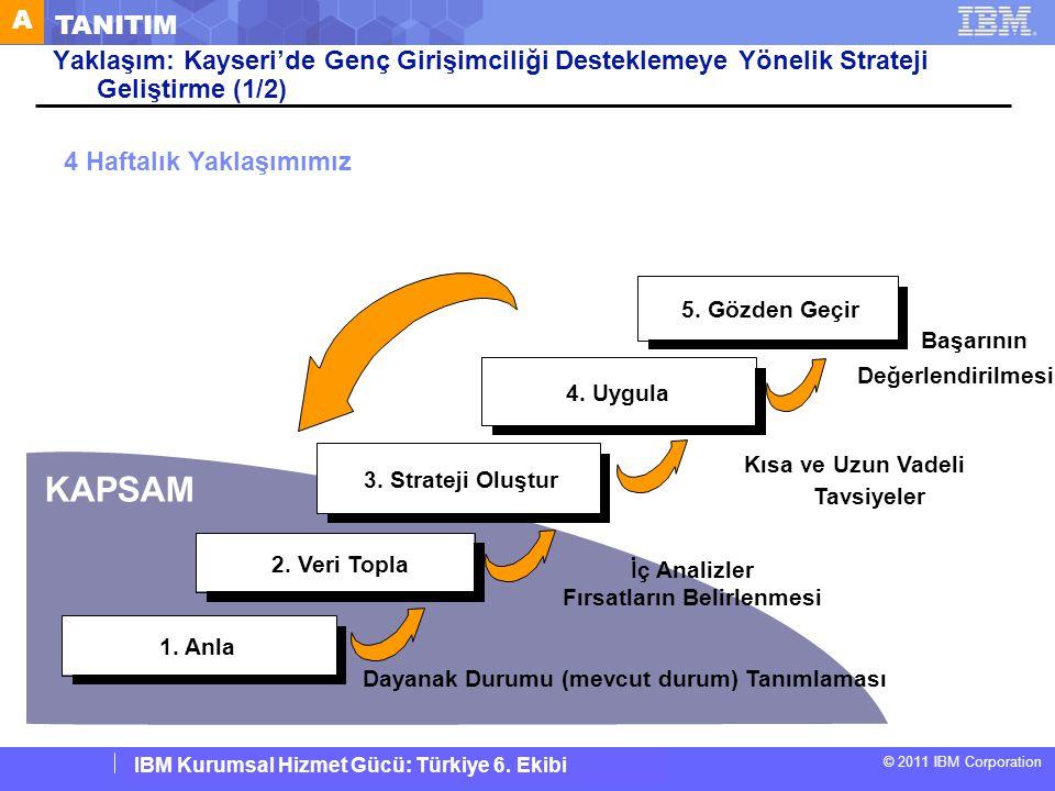 © 2011 IBM Corporation IBM Corporate Service Corps : Turkey Team 6 D GENÇ GİRİŞİMCİLİĞE NASIL FIRSAT SAĞLANIR Tavsiyeler Mevzuat Reformu Yapılması Siyasi liderlerin ve hükümet yetkililerinin mevzuat reformu yapacaklarına dair taahhüt vermesi.