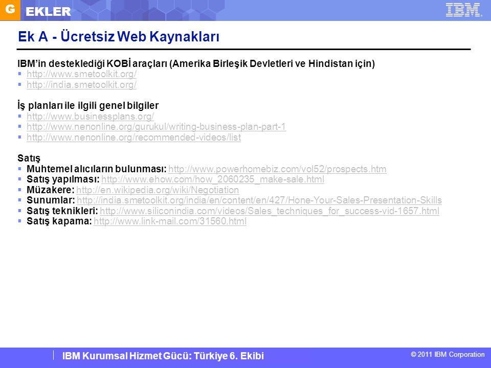 IBM Corporate Service Corps : Turkey Team 6 © 2011 IBM Corporation IBM Kurumsal Hizmet Gücü: Türkiye 6. Ekibi Ek A - Ücretsiz Web Kaynakları IBM'in de