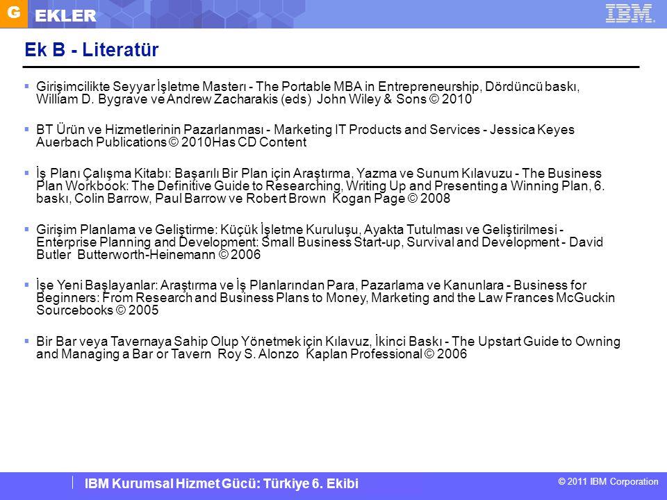 IBM Corporate Service Corps : Turkey Team 6 © 2011 IBM Corporation IBM Kurumsal Hizmet Gücü: Türkiye 6. Ekibi Ek B - Literatür  Girişimcilikte Seyyar
