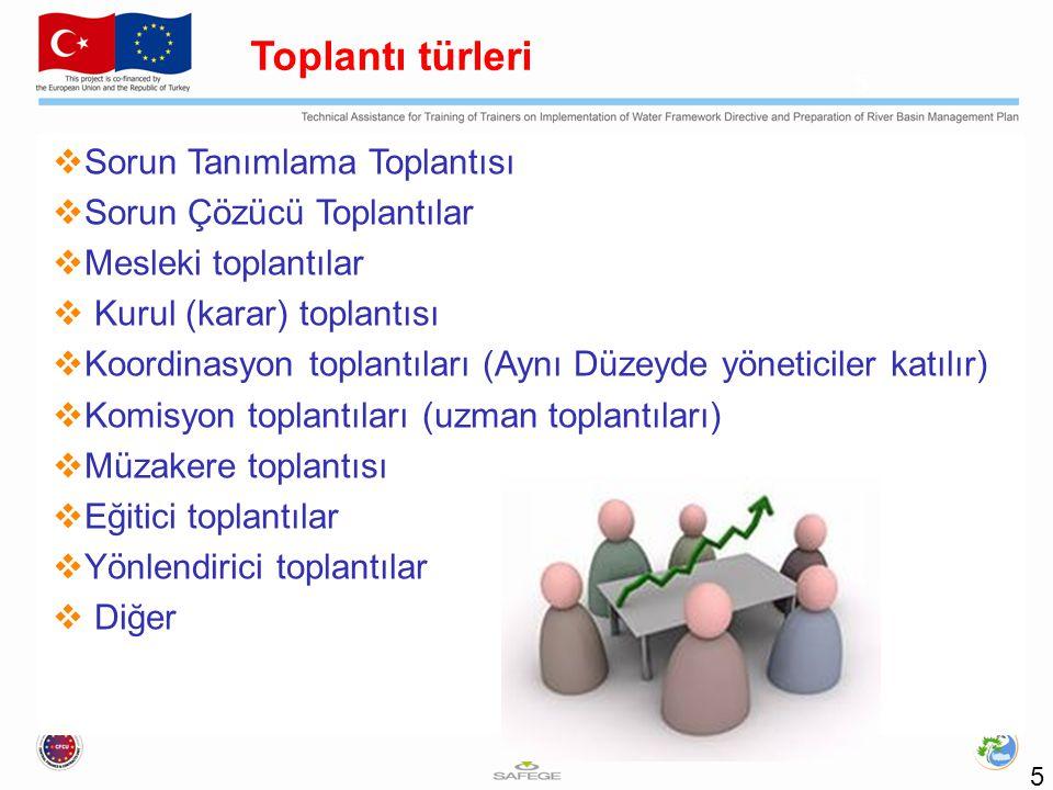  Sorun Tanımlama Toplantısı  Sorun Çözücü Toplantılar  Mesleki toplantılar  Kurul (karar) toplantısı  Koordinasyon toplantıları (Aynı Düzeyde yön