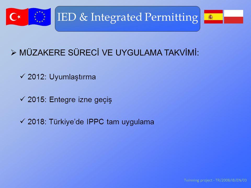 IED & Integrated Permitting 2018: Türkiye'de IPPC tam uygulama 2015: Entegre izne geçiş  MÜZAKERE SÜRECİ VE UYGULAMA TAKVİMİ: 2012: Uyumlaştırma Twinning project - TR/2008/IB/EN/03