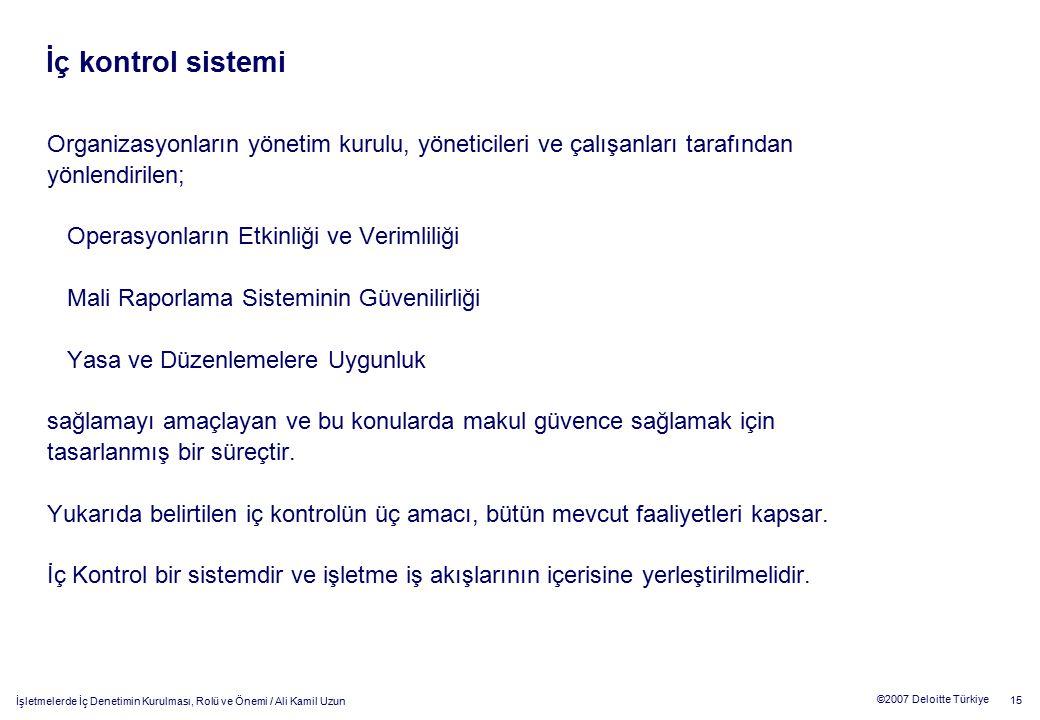 15 ©2007 Deloitte Türkiye İşletmelerde İç Denetimin Kurulması, Rolü ve Önemi / Ali Kamil Uzun Organizasyonların yönetim kurulu, yöneticileri ve çalışa