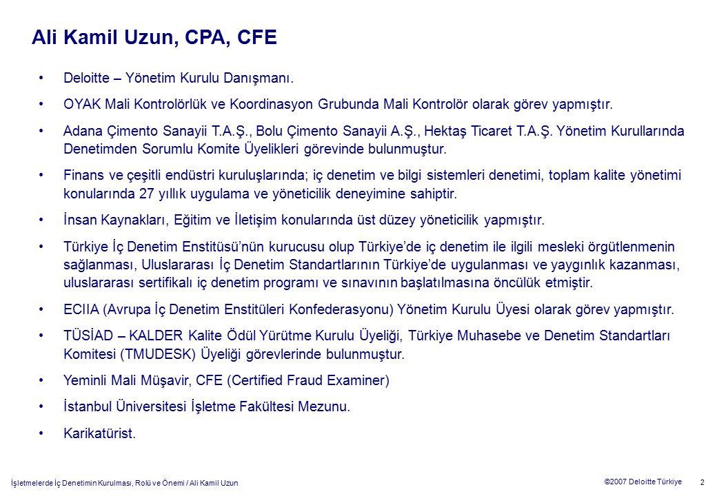 23 ©2007 Deloitte Türkiye İşletmelerde İç Denetimin Kurulması, Rolü ve Önemi / Ali Kamil Uzun Modern iç denetimin gelişimi 1950'li yıllarda kurum varlıklarının korunması, 1960'lı yıllarda kurum verilerinin güvenirliliğinin denetlenmesi, 1970'li yıllarda uygunluk denetiminin yapılması, 1980'li yıllarda kurum etkinliğinin denetlenmesi, 1990'lı yıllarda kurum amaçlarına ulaşılmasının denetlenmesi, 2000'li yıllarda ise risk bazlı denetimlerin gerçekleştirilmesi.