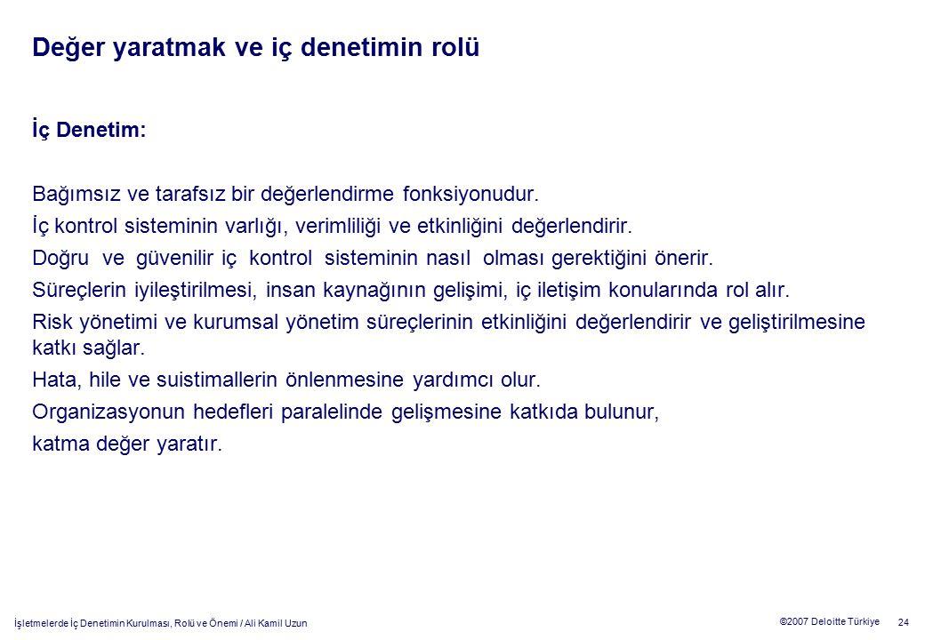 24 ©2007 Deloitte Türkiye İşletmelerde İç Denetimin Kurulması, Rolü ve Önemi / Ali Kamil Uzun Değer yaratmak ve iç denetimin rolü İç Denetim: Bağımsız