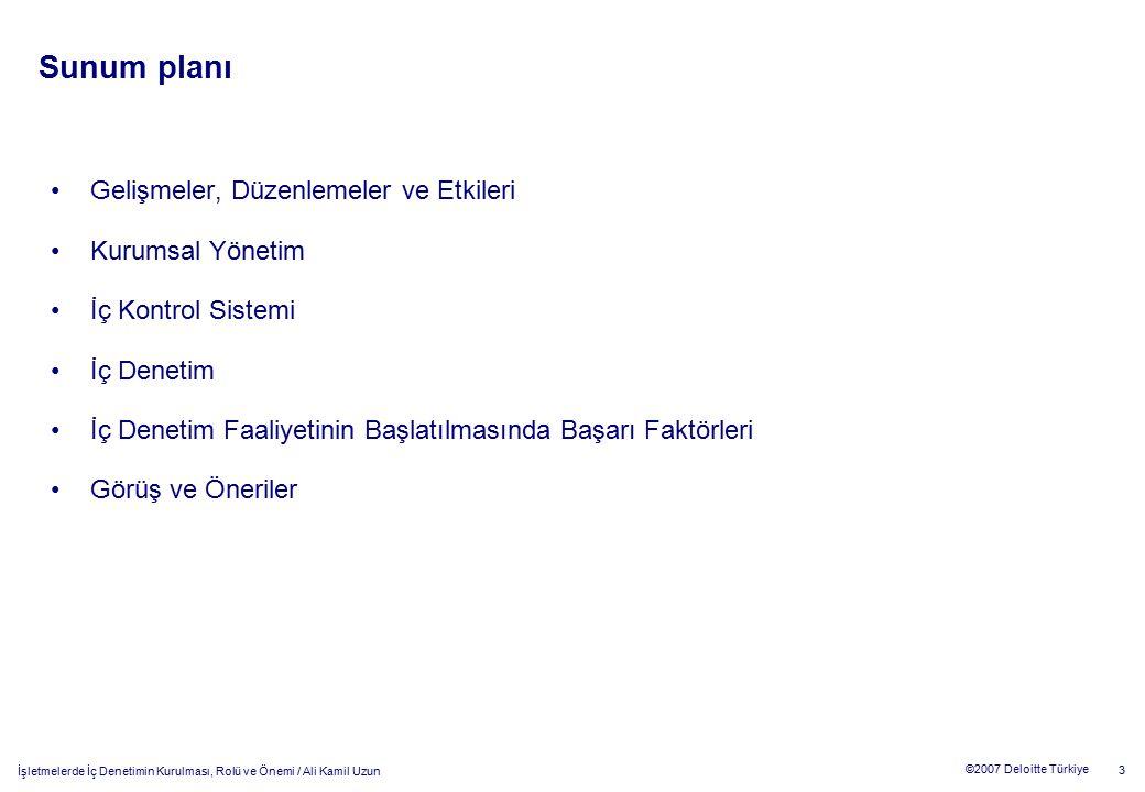 İşletmelerde İç Denetimin Kurulması, Rolü ve Önemi / Ali Kamil Uzun 3 ©2007 Deloitte Türkiye Sunum planı Gelişmeler, Düzenlemeler ve Etkileri Kurumsal