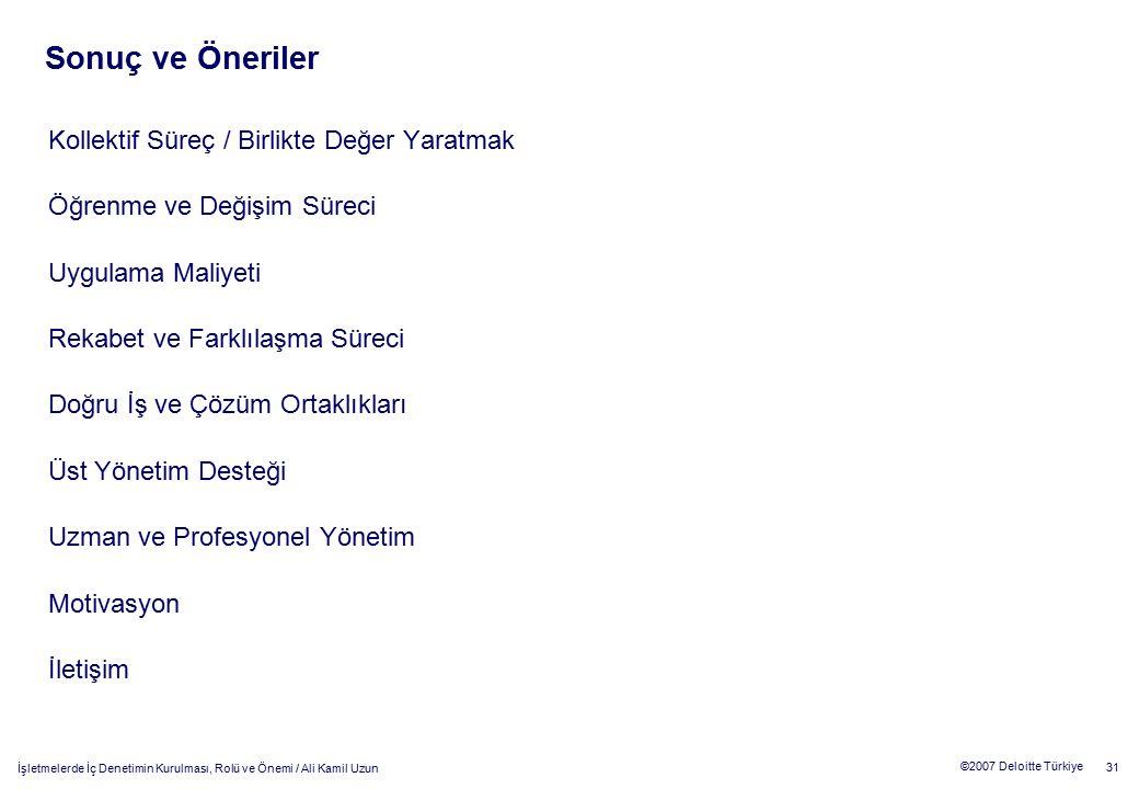 31 ©2007 Deloitte Türkiye İşletmelerde İç Denetimin Kurulması, Rolü ve Önemi / Ali Kamil Uzun Kollektif Süreç / Birlikte Değer Yaratmak Öğrenme ve Değ
