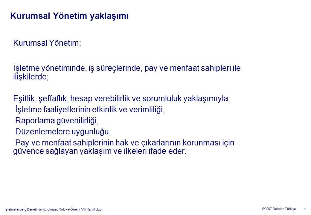 19 ©2007 Deloitte Türkiye İşletmelerde İç Denetimin Kurulması, Rolü ve Önemi / Ali Kamil Uzun Örnek Süreç / İş Akışı ve Kontroller Satış Süreci Satış Sipariş Emri Satış sipariş emirlerindeki iptal/ değişiklikler İptal edilen/değiştirilen satış sipariş emirlerinin işleme alınmaması Doğru ve uygun sipariş emirleri eksiksiz işleme alınmaktadır Uygulamada olan satış sipariş emirlerine yönelik bir değişiklik/ iptal prosedürün var olması Değişiklik/iptal satış emirlerinin prosedürlere uygun bir şekilde yapıldığının örnekleme yolu ile test edilmesi