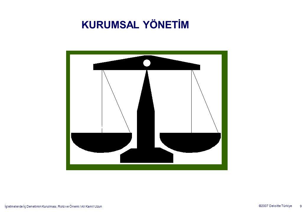 10 ©2007 Deloitte Türkiye İşletmelerde İç Denetimin Kurulması, Rolü ve Önemi / Ali Kamil Uzun Kurumsal Yönetim