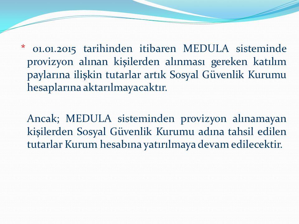 * 01.01.2015 tarihinden itibaren MEDULA sisteminde provizyon alınan kişilerden alınması gereken katılım paylarına ilişkin tutarlar artık Sosyal Güvenl