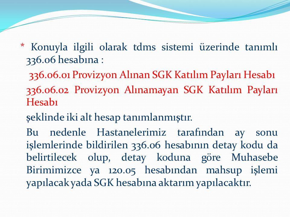 * Konuyla ilgili olarak tdms sistemi üzerinde tanımlı 336.06 hesabına : 336.06.01 Provizyon Alınan SGK Katılım Payları Hesabı 336.06.02 Provizyon Alın