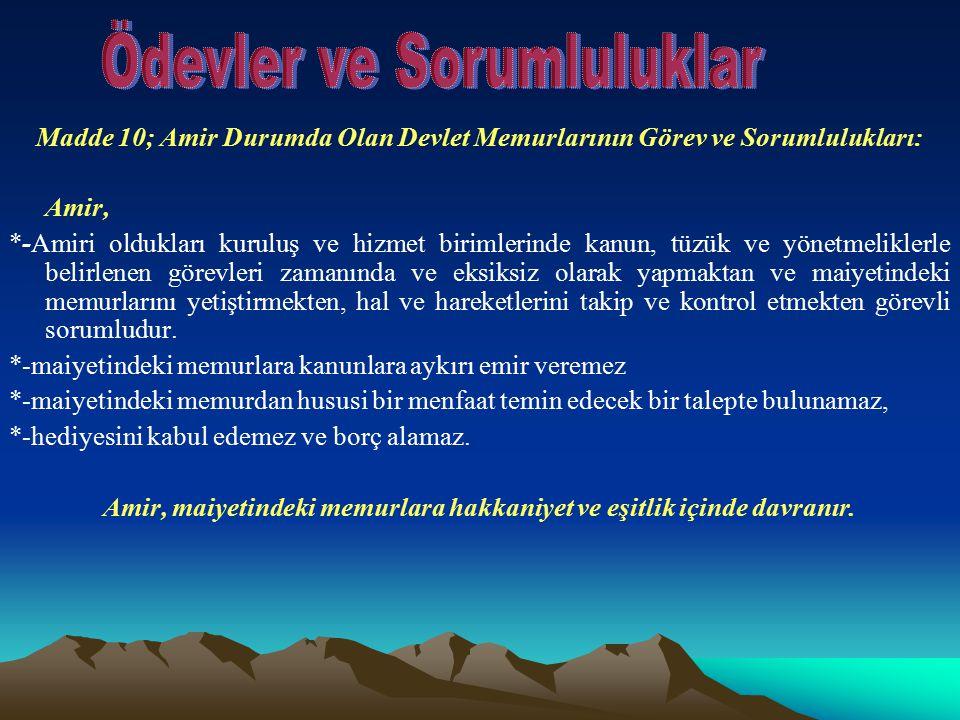 Madde 10; Amir Durumda Olan Devlet Memurlarının Görev ve Sorumlulukları: Amir, *-Amiri oldukları kuruluş ve hizmet birimlerinde kanun, tüzük ve yönetm