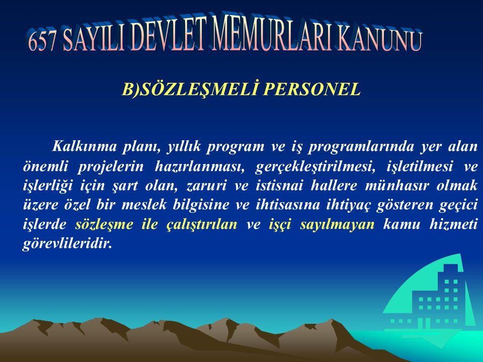 B)SÖZLEŞMELİ PERSONEL Kalkınma planı, yıllık program ve iş programlarında yer alan önemli projelerin hazırlanması, gerçekleştirilmesi, işletilmesi ve