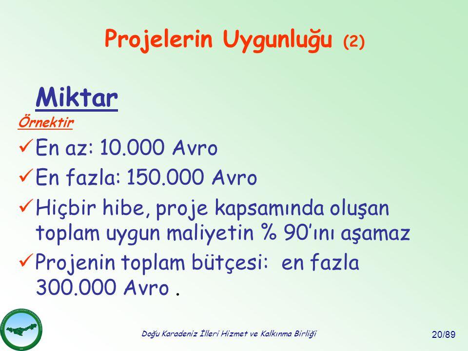 Doğu Karadeniz İlleri Hizmet ve Kalkınma Birliği 20/89 Miktar Örnektir En az: 10.000 Avro En fazla: 150.000 Avro Hiçbir hibe, proje kapsamında oluşan