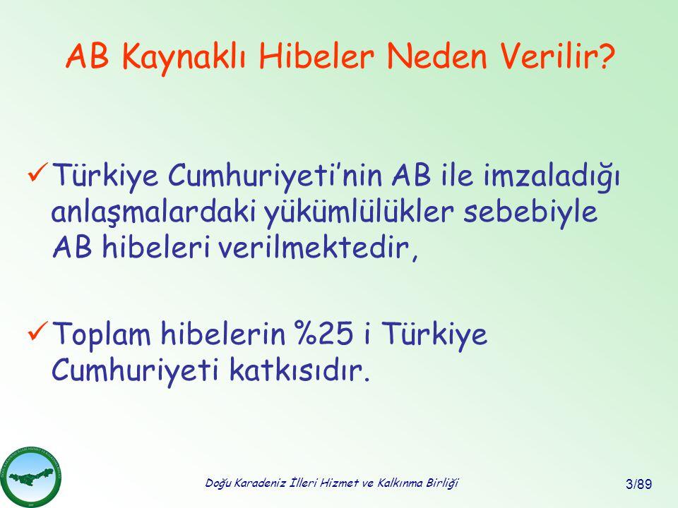 Doğu Karadeniz İlleri Hizmet ve Kalkınma Birliği 3/89 Türkiye Cumhuriyeti'nin AB ile imzaladığı anlaşmalardaki yükümlülükler sebebiyle AB hibeleri ver