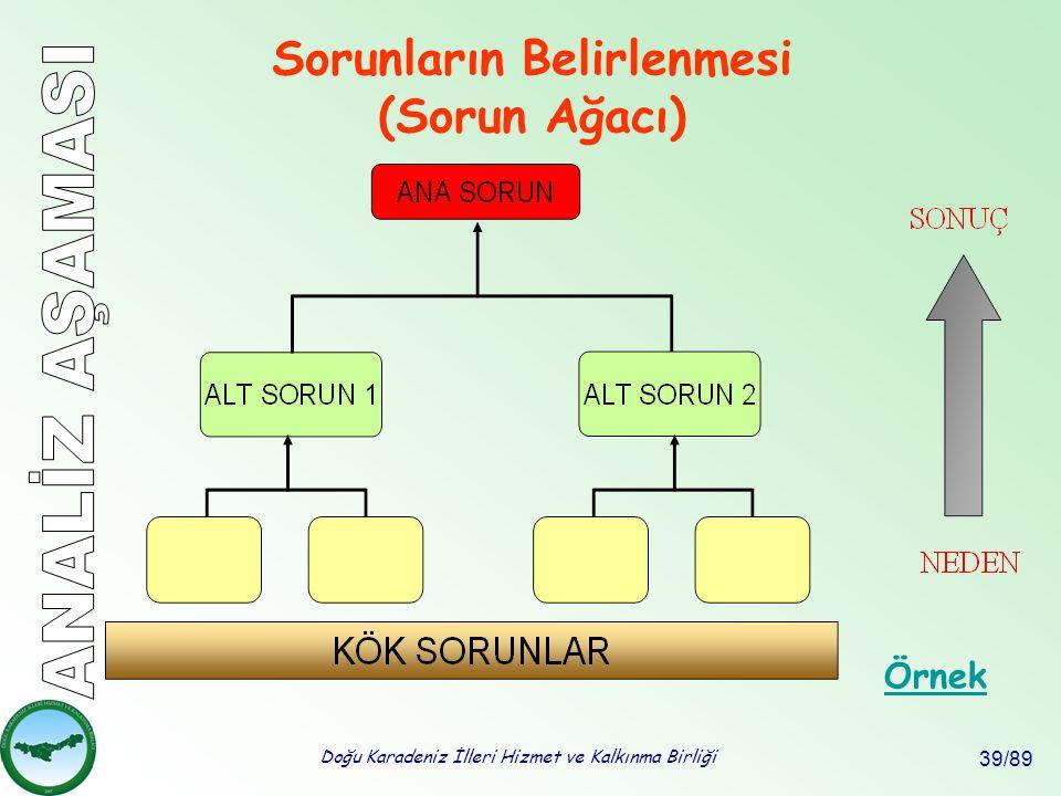 Doğu Karadeniz İlleri Hizmet ve Kalkınma Birliği 39/89 Sorunların Belirlenmesi (Sorun Ağacı) Örnek