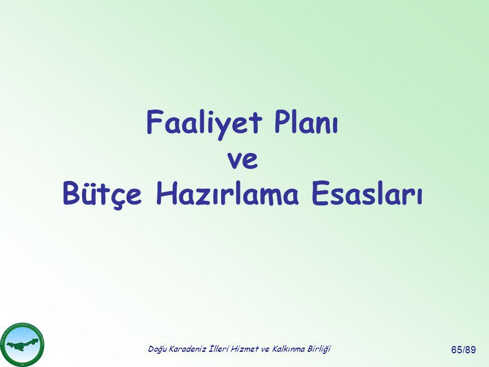 Doğu Karadeniz İlleri Hizmet ve Kalkınma Birliği 65/89 Faaliyet Planı ve Bütçe Hazırlama Esasları