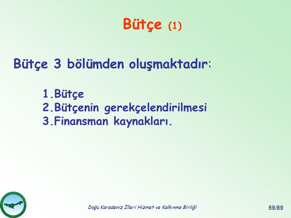 Doğu Karadeniz İlleri Hizmet ve Kalkınma Birliği 69/89 Bütçe (1) Bütçe 3 bölümden oluşmaktadır: 1.Bütçe 2.Bütçenin gerekçelendirilmesi 3.Finansman kay