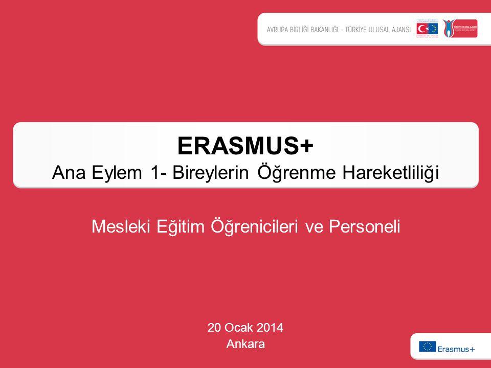 ERASMUS+ Ana Eylem 1- Bireylerin Öğrenme Hareketliliği 20 Ocak 2014 Ankara Mesleki Eğitim Öğrenicileri ve Personeli