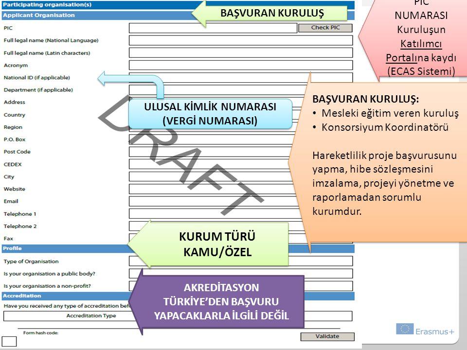 PIC NUMARASI Kuruluşun Katılımcı Portalına kaydı (ECAS Sistemi) PIC NUMARASI Kuruluşun Katılımcı Portalına kaydı (ECAS Sistemi) BAŞVURAN KURULUŞ AKREDİTASYON TÜRKİYE'DEN BAŞVURU YAPACAKLARLA İLGİLİ DEĞİL ULUSAL KİMLİK NUMARASI (VERGİ NUMARASI) BAŞVURAN KURULUŞ: Mesleki eğitim veren kuruluş Konsorsiyum Koordinatörü Hareketlilik proje başvurusunu yapma, hibe sözleşmesini imzalama, projeyi yönetme ve raporlamadan sorumlu kurumdur.