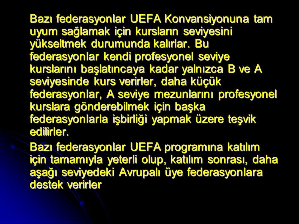 Bazı federasyonlar UEFA Konvansiyonuna tam uyum sağlamak için kursların seviyesini yükseltmek durumunda kalırlar. Bu federasyonlar kendi profesyonel s