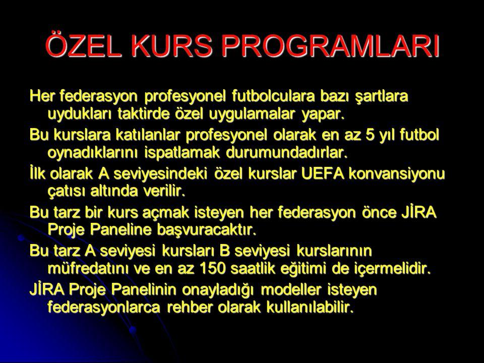 ÖZEL KURS PROGRAMLARI Her federasyon profesyonel futbolculara bazı şartlara uydukları taktirde özel uygulamalar yapar. Bu kurslara katılanlar profesyo