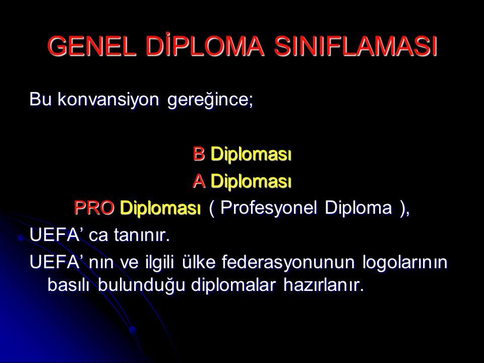 GENEL DİPLOMA SINIFLAMASI Bu konvansiyon gereğince; B Diploması A Diploması PRO Diploması ( Profesyonel Diploma ), UEFA' ca tanınır. UEFA' nın ve ilgi