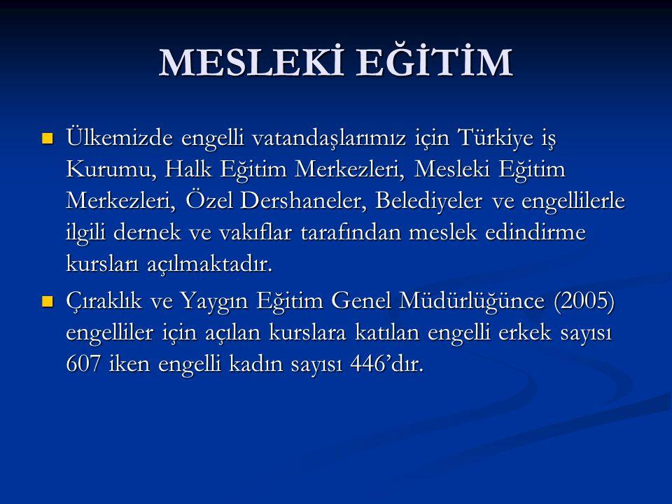 MESLEKİ EĞİTİM Ülkemizde engelli vatandaşlarımız için Türkiye iş Kurumu, Halk Eğitim Merkezleri, Mesleki Eğitim Merkezleri, Özel Dershaneler, Belediye