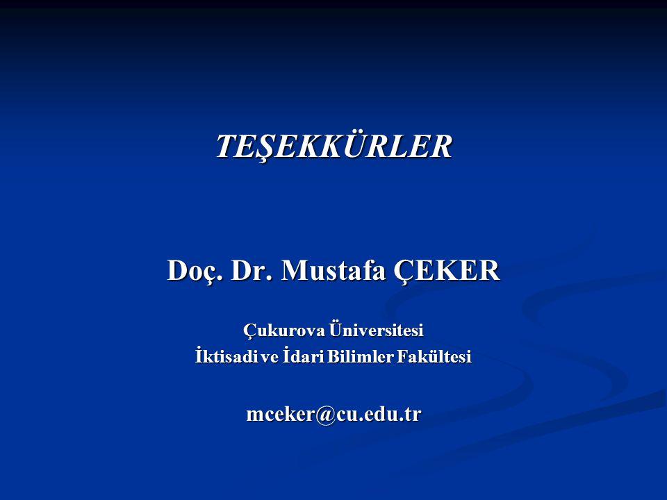 TEŞEKKÜRLER Doç. Dr. Mustafa ÇEKER Çukurova Üniversitesi İktisadi ve İdari Bilimler Fakültesi mceker@cu.edu.tr
