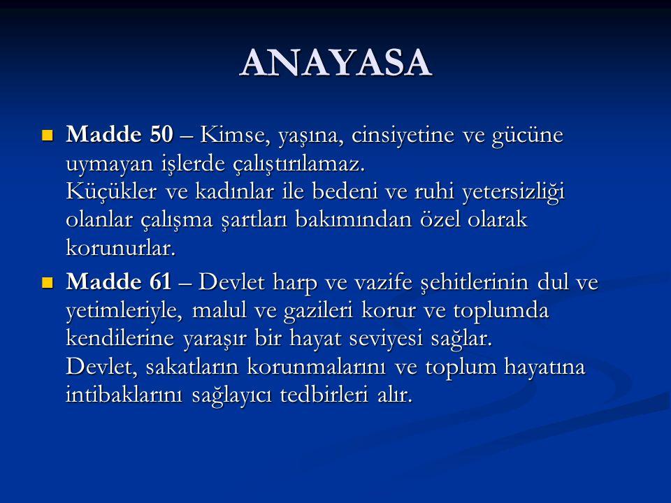 AVRUPA SOSYAL ŞARTI (RG.09.04.2007) Madde 15 Madde 15 Özürlülerin toplumsal yaşamda bağımsız olma, sosyal bütünleşme ve katılma hakkı Özürlülerin toplumsal yaşamda bağımsız olma, sosyal bütünleşme ve katılma hakkı Akit Taraflar, yaşları ve özürlerinin nedenleri ve niteliği ne olursa olsun, özürlülerin toplumsal yaşamda bağımsız olma, sosyal bütünleşme ve katılma hakkını etkili bir biçimde kullanabilmelerini sağlamak amacıyla: Akit Taraflar, yaşları ve özürlerinin nedenleri ve niteliği ne olursa olsun, özürlülerin toplumsal yaşamda bağımsız olma, sosyal bütünleşme ve katılma hakkını etkili bir biçimde kullanabilmelerini sağlamak amacıyla: 1- Mümkün olduğunda genel plan çerçevesinde, ya da bu mümkün değilse, kamusal ya da özel uzmanlaşmış organlar aracılığıyla özürlülerin yönlendirilmesini, öğrenimini ve mesleki eğitimini sağlamak için gerekli önlemleri almayı; 2- Normal çalışma ortamında özürlüleri istihdam etmek ve onların istihdamını sürdürmek ve çalışma koşullarını özürlülerin gereksinimlerine uyarlamak, ya da özürlülük nedeniyle bunun mümkün olmadığı durumlarda çalışmayı buna göre düzenlemek ya da özrün düzeyine göre güvenli bir istihdam türü yaratmak için, işverenleri özendirmeye yönelik bütün önlemlerle onların istihdam edilmelerini teşvik etmeyi; Bazı durumlarda bu önlemler uzmanlaşmış yerleştirme ve destekleme hizmetlerine başvurmayı gerekli kılabilir.