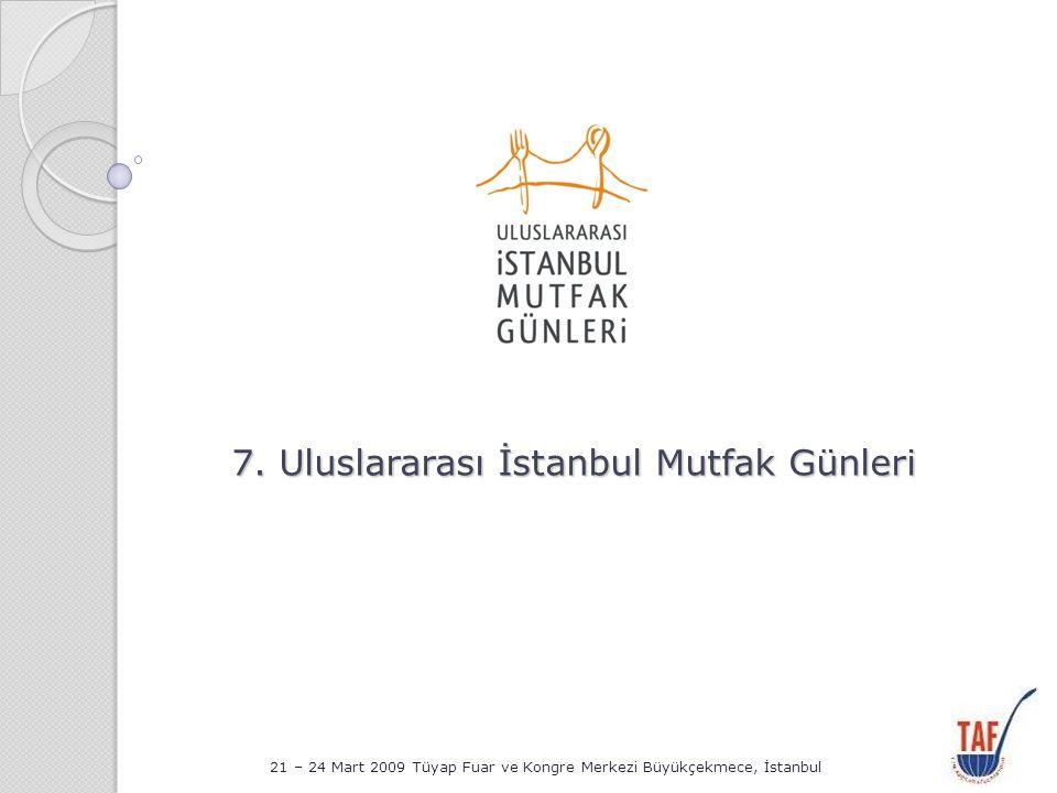 7.Uluslararası Mutfak Günleri Amaç Türk mutfak kültürünü dünyanın diğer mutfak kültürleri ile buluşturmak, Ülkemizin şefleri ile dünyanın önde gelen şefleri arasında yakınlaşmayı ve karşılıklı bilgi alışverişini sağlamak, Ev sahipliği yapacağımız bir çok ülkenin turizmine katkıda bulunmak ve aynı zamanda; 2010 kültür başkenti seçilen İstanbul'u tanıtmak amacıyla yapılan çok önemli bir organizasyondur.