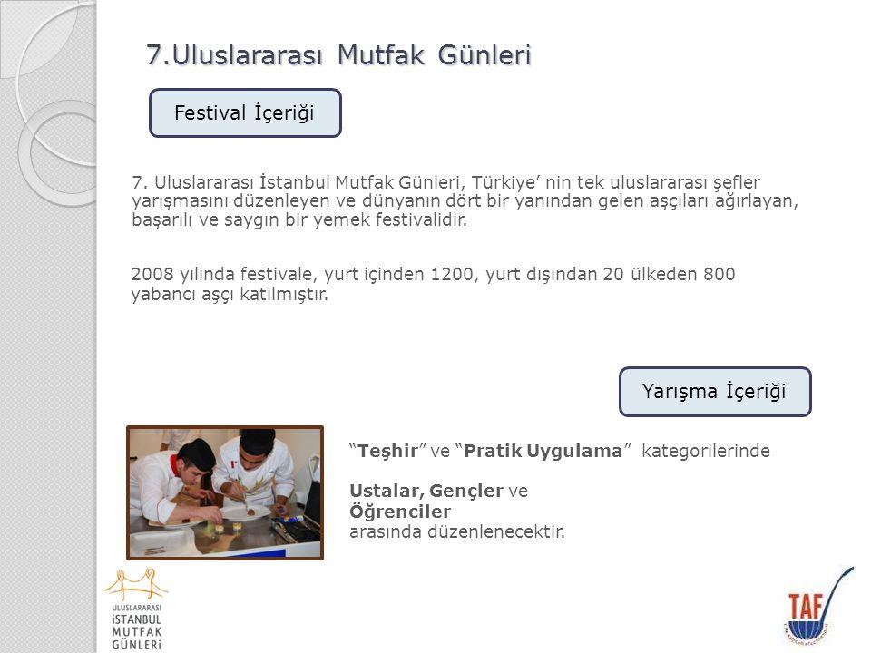 7.Uluslararası Mutfak Günleri TAF Uluslararası İstanbul Mutfak Günleri TAF tarafından düzenlenmektedir.