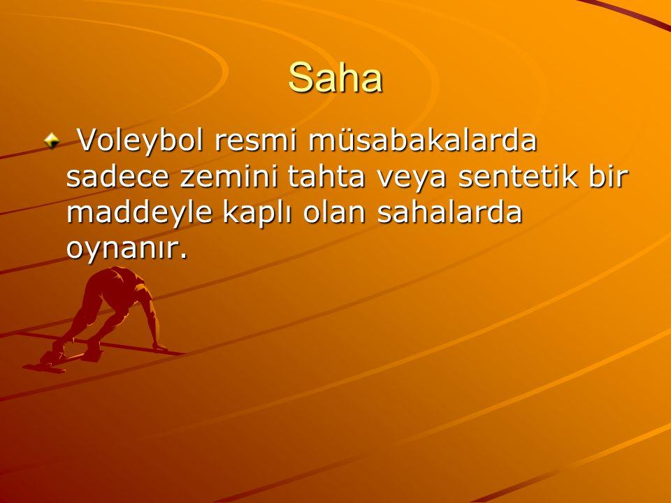 Saha Voleybol resmi müsabakalarda sadece zemini tahta veya sentetik bir maddeyle kaplı olan sahalarda oynanır.