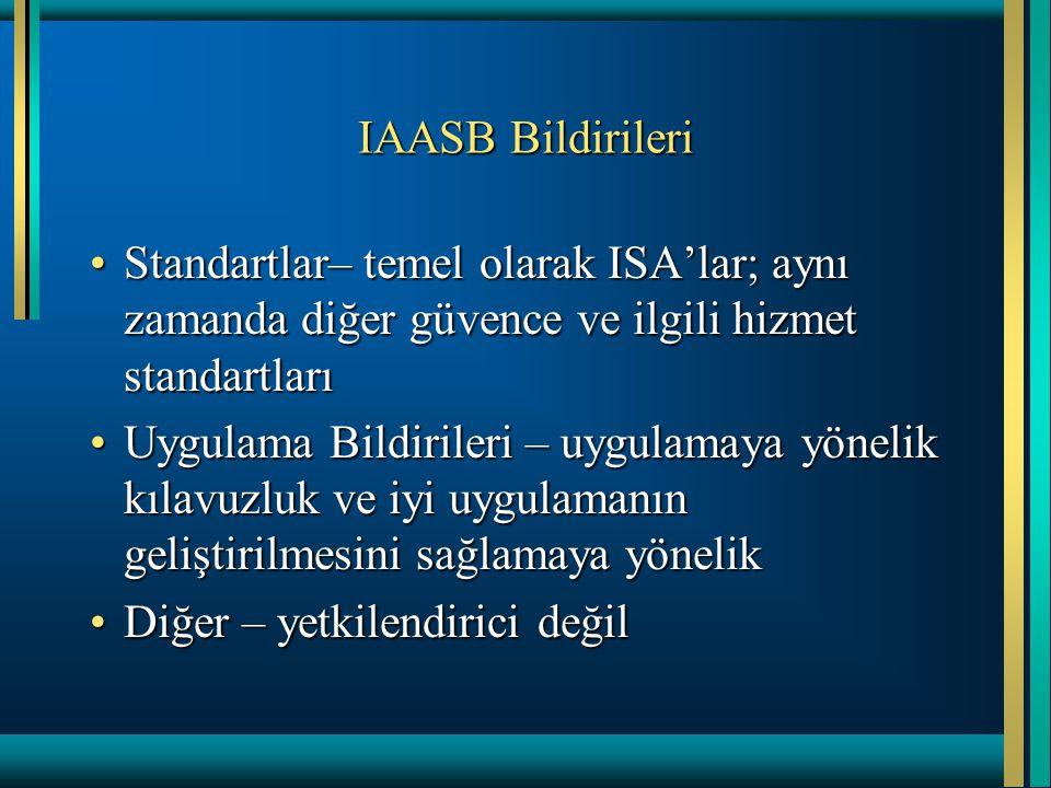 IAASB Bildirileri Standartlar– temel olarak ISA'lar; aynı zamanda diğer güvence ve ilgili hizmet standartlarıStandartlar– temel olarak ISA'lar; aynı z