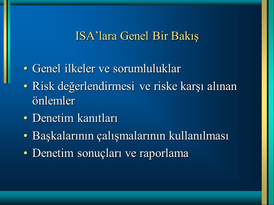 ISA'lara Genel Bir Bakış Genel ilkeler ve sorumluluklarGenel ilkeler ve sorumluluklar Risk değerlendirmesi ve riske karşı alınan önlemlerRisk değerlen