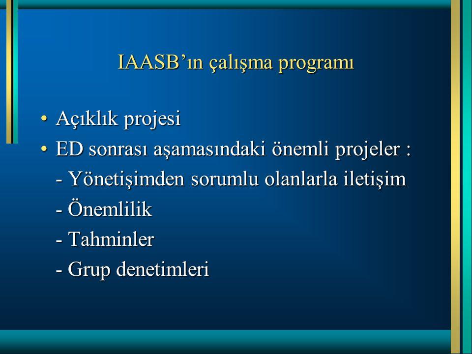 IAASB'ın çalışma programı Açıklık projesiAçıklık projesi ED sonrası aşamasındaki önemli projeler :ED sonrası aşamasındaki önemli projeler : - Yönetişi