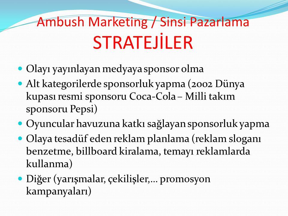 Ambush Marketing / Sinsi Pazarlama STRATEJİLER Olayı yayınlayan medyaya sponsor olma Alt kategorilerde sponsorluk yapma (2002 Dünya kupası resmi spons