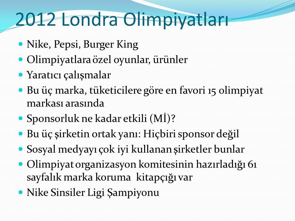 2012 Londra Olimpiyatları Nike, Pepsi, Burger King Olimpiyatlara özel oyunlar, ürünler Yaratıcı çalışmalar Bu üç marka, tüketicilere göre en favori 15