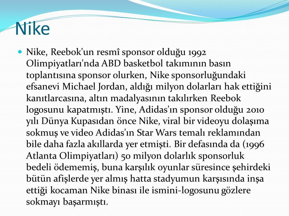 Nike Nike, Reebok'un resmî sponsor olduğu 1992 Olimpiyatları'nda ABD basketbol takımının basın toplantısına sponsor olurken, Nike sponsorluğundaki efs