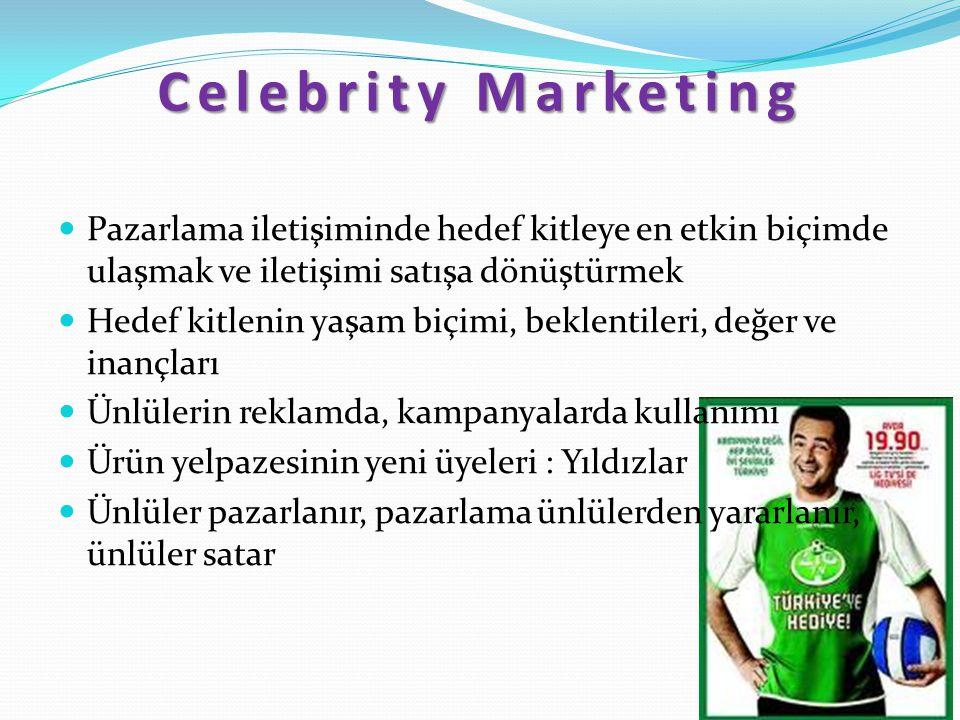 Celebrity Marketing Pazarlama iletişiminde hedef kitleye en etkin biçimde ulaşmak ve iletişimi satışa dönüştürmek Hedef kitlenin yaşam biçimi, beklent