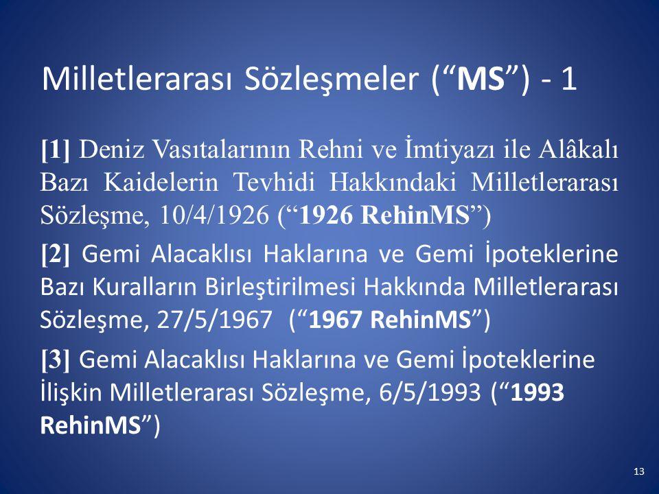 """Milletlerarası Sözleşmeler (""""MS"""") - 1 [1] Deniz Vasıtalarının Rehni ve İmtiyazı ile Alâkalı Bazı Kaidelerin Tevhidi Hakkındaki Milletlerarası Sözleşme"""